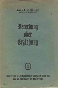 Hans Friedrich Karl Günther, Vererbung oder Erziehung