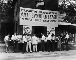 """Stand einer """"Anti-Evolutions-Liga"""" in den Südstaaten der USA, 1925"""