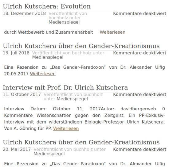 Evolutionsbiologe und Genderkritiker Ulrich Kutschera
